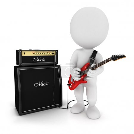 3d white playing electric guitar