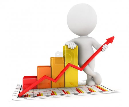 3d white business statistic graph