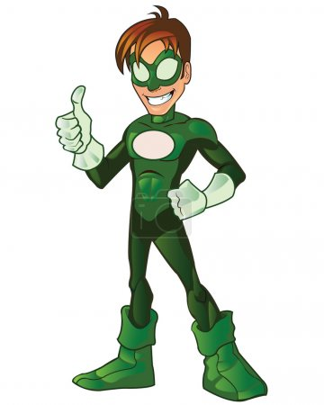 Illustration for Cute Manga Super Hero Boy Cartoon Mascot for Website - Royalty Free Image