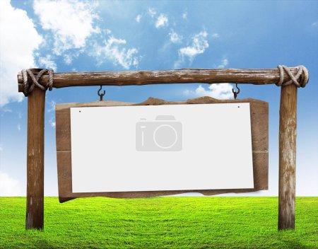 Photo pour Panneau en bois avec herbe - image libre de droit