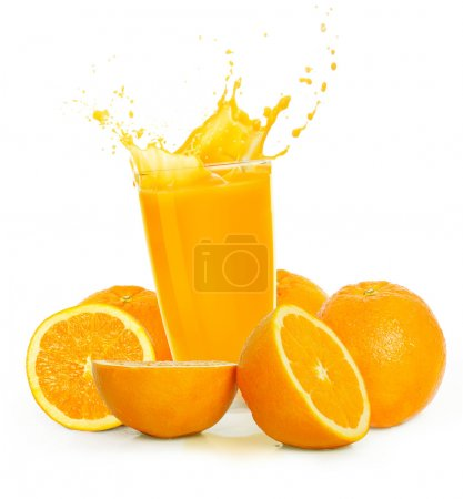 Photo pour Jus d'orange et des fruits orange - image libre de droit