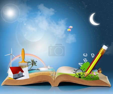 Photo for Magical world of reading: magic book - Royalty Free Image