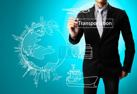 Photo for Business man drawing transportation - Royalty Free Image