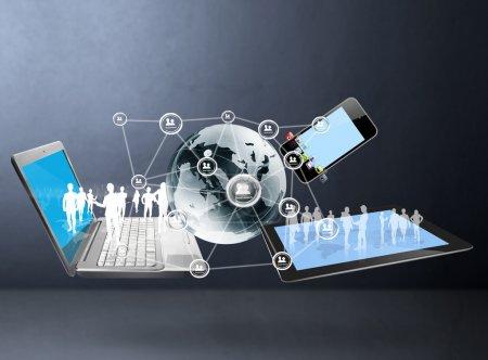 Photo pour Technologie magique avec structure de réseau social - image libre de droit