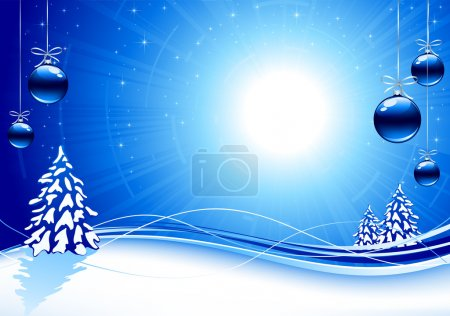 Illustration for Background with Christmas tree and balls, illustration - Royalty Free Image