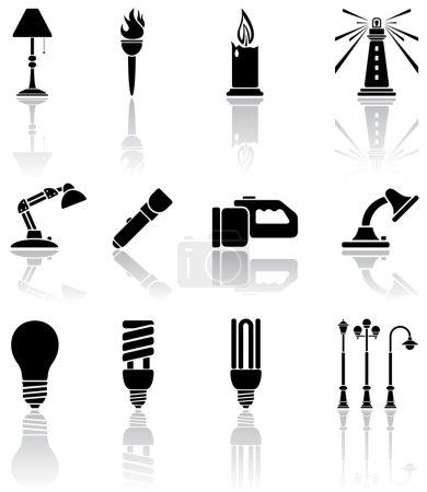 Illustration for Set of black lights icons, illustration - Royalty Free Image
