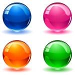Set of colorful balls on white background, illustr...