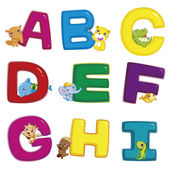 Illustration of isolated animal alphabet A to I on white