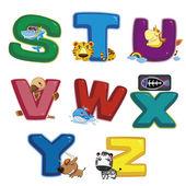 Illustration of isolated animal alphabet S to Z on white