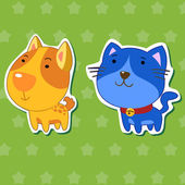 Cute animal stickers with dog and cat