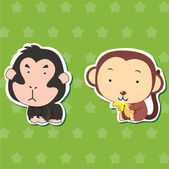 Cute animal stickers with orangutan and monkey