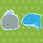 Cute animal stickers with dolphin and whale