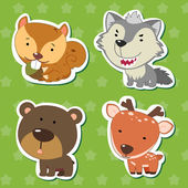 Cute animal stickers with bear wolf squirrel and deer