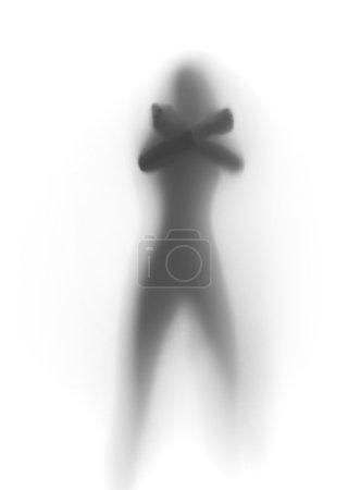 Photo pour Corps sans visage debout devant un rideau, les mains, la silhouette - image libre de droit