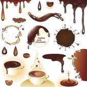 Coffee and chocolate Set of drops and splashes Vector illustration