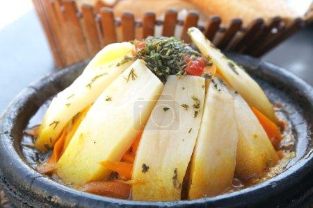 Morocco national dish - tajine of meet with vegetables