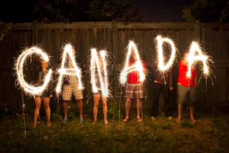 Canada sparklers in time lapse photography