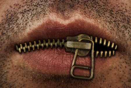 Photo for Close up of man's mouth with bronze or gold metal zipper closing lips shut. - Royalty Free Image