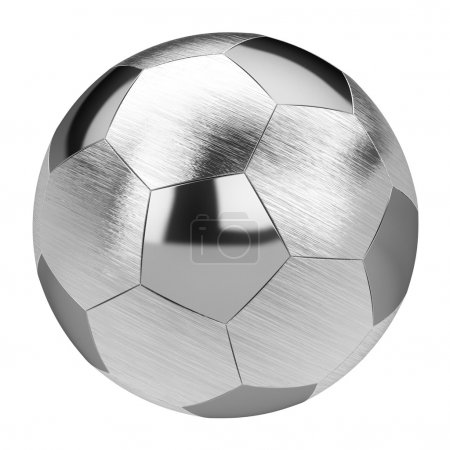 Metal soccer ball isolated on white background