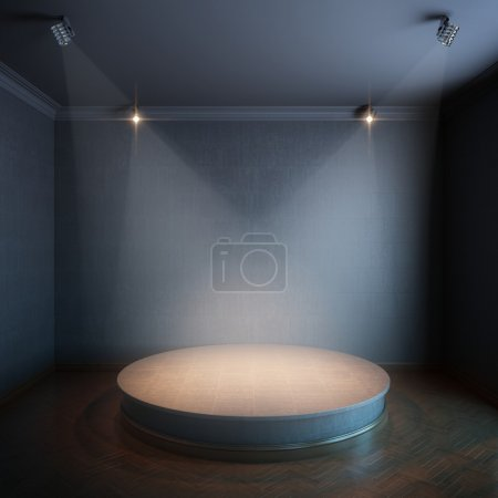 Photo for New interior with a round concrete podium and lighters (black painted walls version) - Royalty Free Image