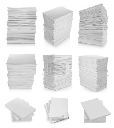 Photo for Collection of stack paper in white background - Royalty Free Image
