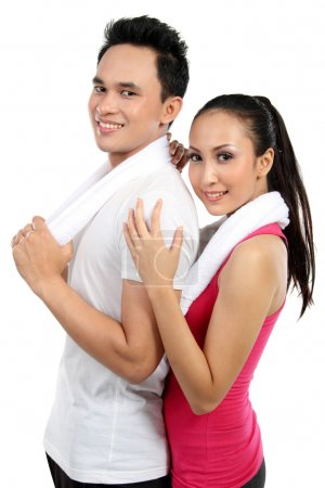 Fitness Smiling young couple man and woman