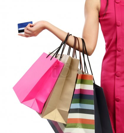 Photo for Close up woman hand with many shopping bags and credit card - Royalty Free Image