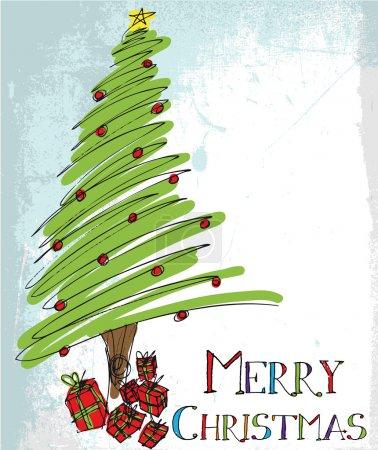 Sketch of Christmas tree. Vector illustration