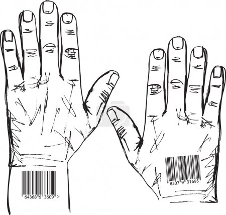 Sketch of barcoded hands. Vector illustration
