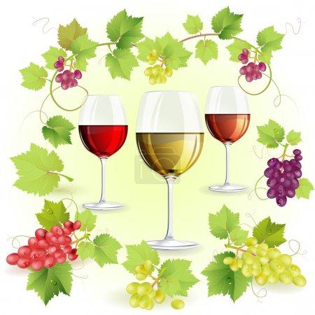 Illustration pour Verres de vin et de raisins - image libre de droit