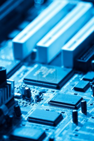 Photo for Closeup of computer electronics blue toned - Royalty Free Image