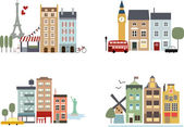 Famous cities with simple buildings and landmarks