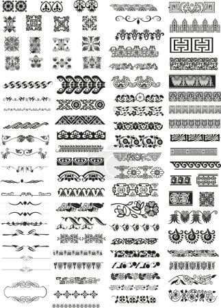 Illustration for Various horizontal bars motifs and patterns - Royalty Free Image