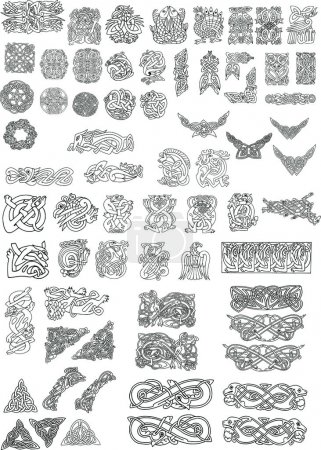 Set of Celtic style decor elements