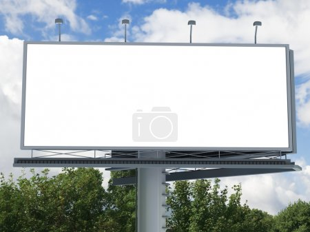 Photo for Billboard with empty screen, against blue cloudy sky - Royalty Free Image