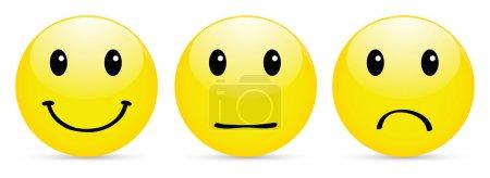 Photo pour Jeu d'icône smiley sur blanc - image libre de droit