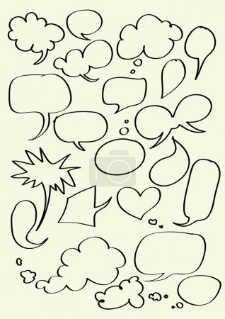 Set of hand drawn word bubbles for text insertion