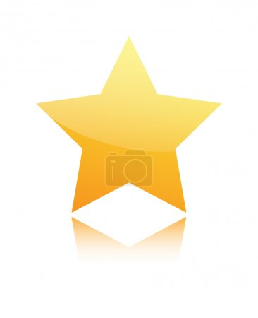 Golden star isolated on white