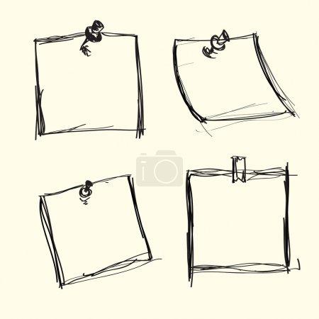 Illustration pour Papiers à notes dessinés à la main - image libre de droit