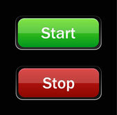 Start Stop glossy button on black