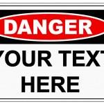 Danger sign label on white...