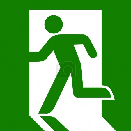 Green emergency human exit sign