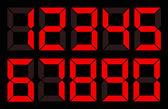Set of red digital number on black