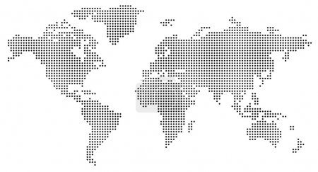 Dotted world map on white...