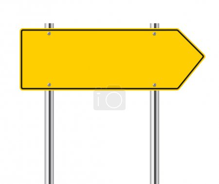 Illustration for Yellow arrow to the left road sign - Royalty Free Image