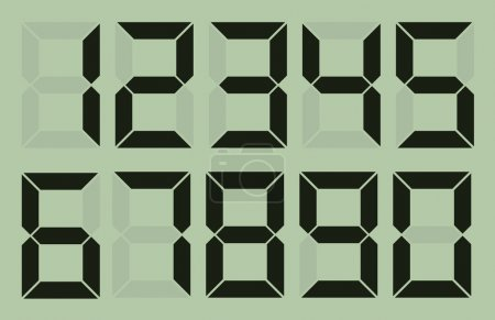 Set of gray digital number on light green