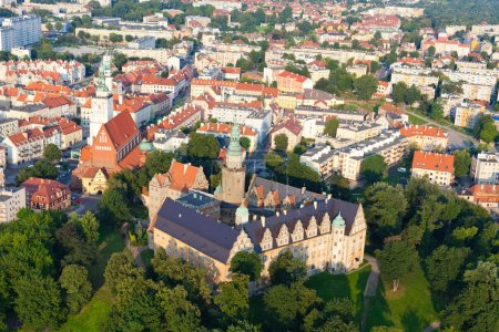 Aerial view of Opole city center , Poland