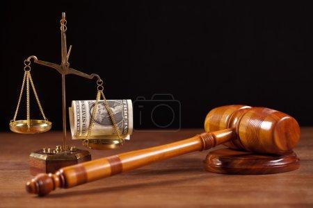 Judge gavel and money
