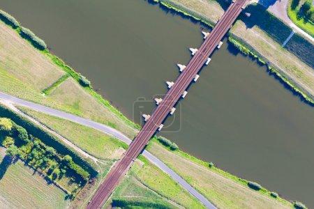Aerial view of Opole city railway bridge
