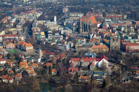 Aerial view of Opole city in Poland